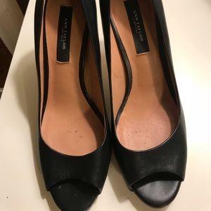Ann Taylor Black Peep Toe Heels
